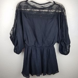 FREE PEOPLE Black Balloon Sleeve Lace Blouse